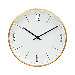 "Modern Sleek Design 12"" Non-Ticking Silent Wall Clock with Bronze Finished (Sleek White)"