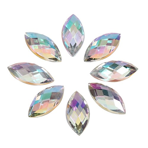 500Pcs In Bulk 7X15mm Crystal AB Acrylic Flatback Rhinestones Eye Shaped Diamond Beads For DIY Crafts Handicrafts Clothes Bag Shoes Wholesale, White (Bulk Rhinestones)