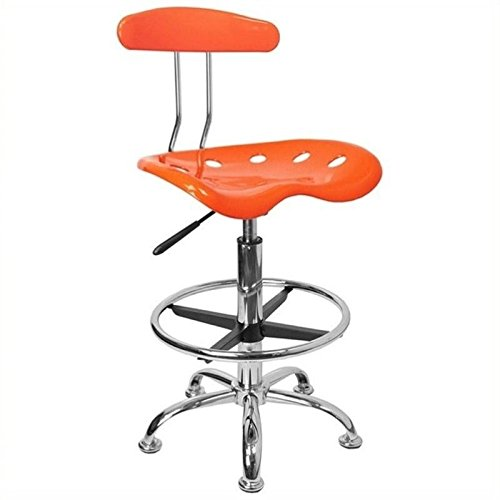 Scranton and Co Drafting Chair Seat with Chrome Base in Orange