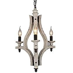 Docheer Retro Iron Wooden Chandelier 3-Light Vinta
