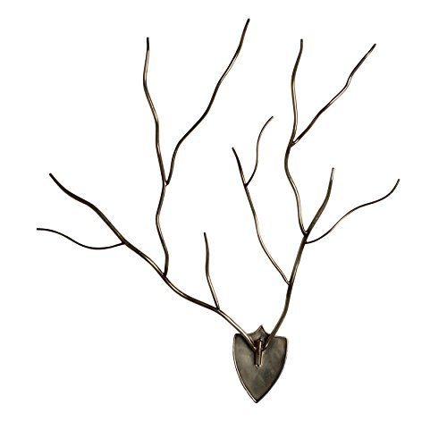 (Kate and Laurel Ulyana Faux Antlers Mounted on a Plaque Metal Wall Art, Silver)