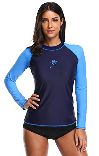 Attraco women's long sleeve rash guard sun protection clothing spf swim shirts Navy/Blue Small