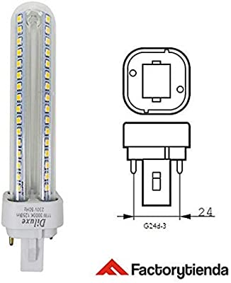 Pack x12 Lámpara Downlight LED G24 15 watios(equivalente a 150 watios), 1350 Lumen, Luz Fría 6400K,LED PLC 2U 15W Bombilla LED Maiz G24 [Clase de eficiencia ...