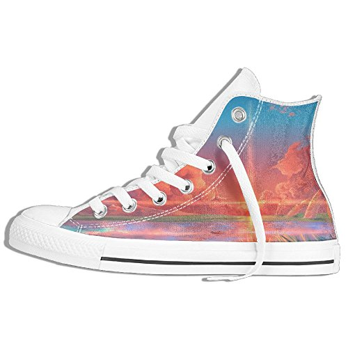 Classic High Top Sneakers Canvas Shoes Anti-Skid Art Painting Casual Walking For Men Women White c6miY