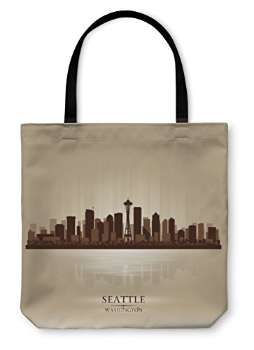 Gear New Shoulder Tote Hand Bag, Seattle Washington Skyline City Silhouette, 18x18, 5631898GN (Reflections Skyline Sunset Seattle)
