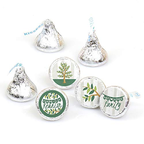 Family Tree Reunion - Family Gathering Party Round Candy Sticker Favors - Labels Fit Hershey's Kisses (1 Sheet of 108) ()