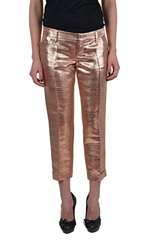 Dsquared2 Women's Pink Sparkle Silk Wool Flat Front Cropped Pants US 4 IT 40