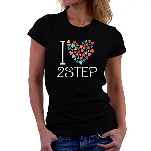 叙情的な大きさ行動I love 2Step colorful hearts 女性の Tシャツ