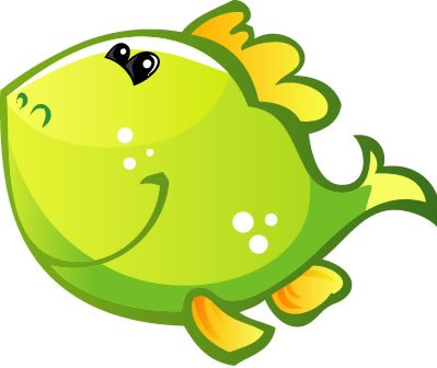 Children's Wall Decals - Green Fish Smiling with Yellow Fins - 36 inch Removable Graphic