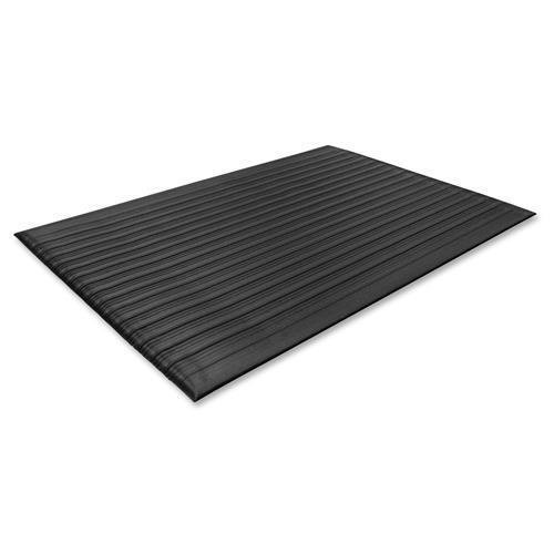 01710 Genuine Joe Air Step Anti-Fatigue Mat - Warehouse - 12 ft Length x 36'' Width x 0.38'' Thickness Overall - Vinyl - Black by Genuine Joe
