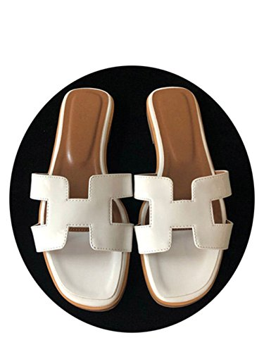 Slippers H Brands Flats W6LDiJLddl Genuine Shoes Leather fashiona Women Luxury 13 Slippers EwqZwC4xB