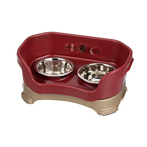 Neater Feeder Deluxe Small Dog (Cranberry) - The Mess Proof Elevated Bowls No Slip Non Tip Double Diner Stainless Steel Food Dish with ()