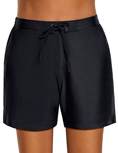 Utyful Women's Black Casual Lace up Elastic Waist Swimsuit Bottom Beach Board Shorts Size XL