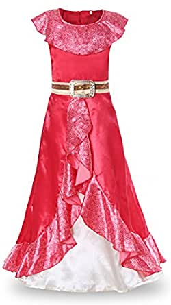 JerrisApparel Girls Princess Elena Costume Party Dress Up (5-6, Red)