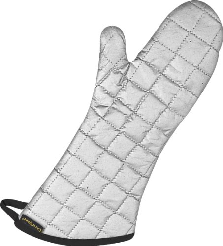 "San Jamar 801SG17 Silicone Temperature Protection Oven/Freezer Mitt, 17"" Length, Silver"