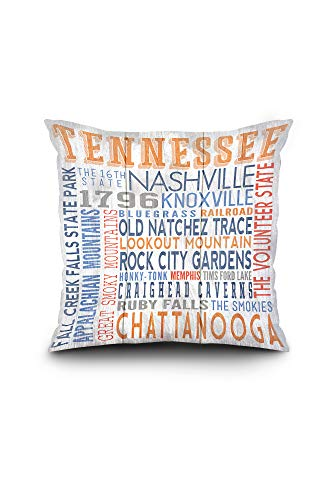 Lantern Press Tennessee - Rustic Typography (18x18 Spun Polyester Pillow, Square) ()