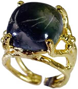 shapely Moss Agate Copper Green Ring handcrafted L-1in US