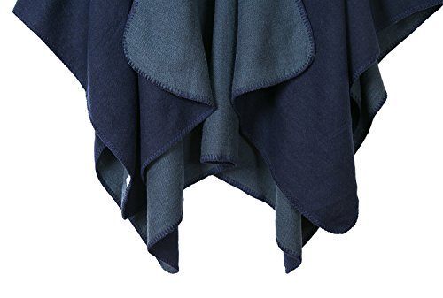 Urban CoCo Women's Color Block Shawl Wrap Open Front Poncho Cape (Series 7-navy blue) by Urban CoCo (Image #4)