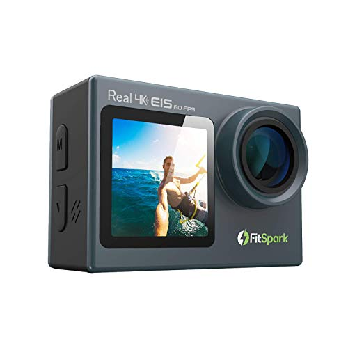 FitSpark Eagle iMAX Dual Screen Real 4K WiFi Action Camera with Touch   Ultra HD 170° Wide-Angle Lens   6-Axis Gyro Stablization + EIS   External MIC Support   Distortion Correction   40M