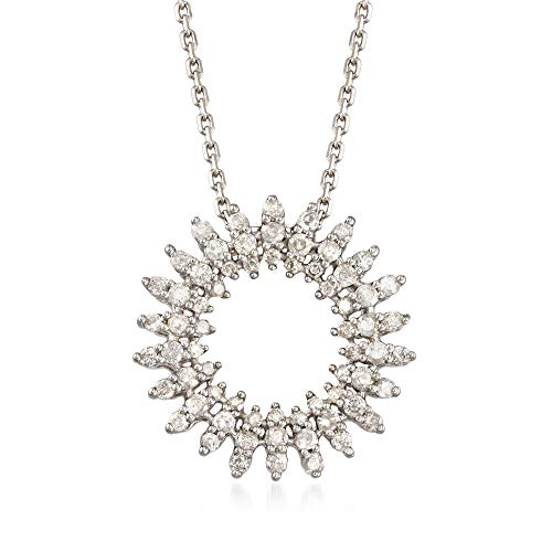 Ross-Simons 0.50 ct. t.w. Diamond Open Circle Pendant Necklace in Sterling Silver
