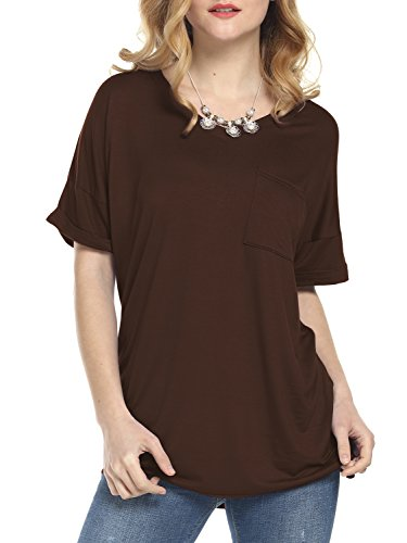 Florboom Short Sleeve Blouses Vneck T Shirts Tees Tops for Women Coffee XL