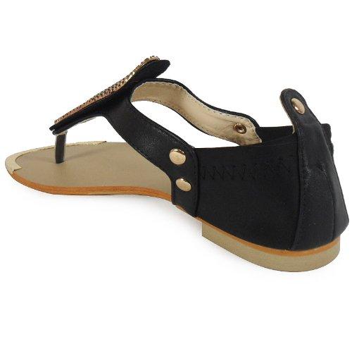Chaussures Décontracté Post Taille Summer Toe Black Sandales 3 Beach Des Loudlook 8 Fashion Femmes Dames Nouveau Plat WCqzBw70n