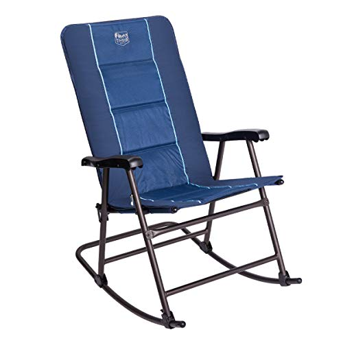 Arm Rocking Chair - Timber Ridge Rocking Chair Folding Padded Patio Lawn Reclining Camping with Armrest, Under Storage Bag, Supports 300lbs