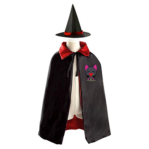 Diy Cat And Mouse Costumes (DIY Strawberry cat Costumes Party Dress Up Cape Reversible with Wizard Witch Hat)