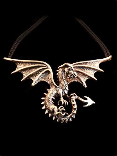 Dragon Necklace Gothic Spread Winged Dragon Neckpiece Bronze Renaissance Necklace
