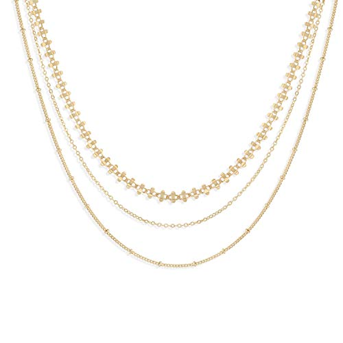 Bohemia Layered Necklace, 14K Gold Plated Link Chain Delicate Station Chain Multilayer Necklace Unique Layering Choker Necklace for Girls ()