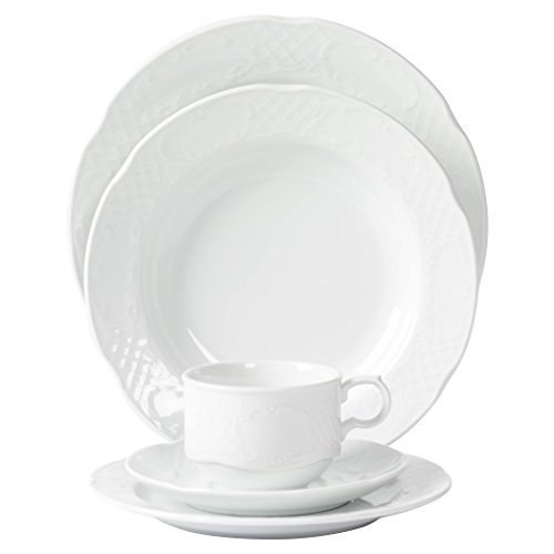 Tabletops Unlimited, Inc. Mitterteich Porcelain Flora Scalloped Embossed White Porcelain Dinnerware (20-piece Set)