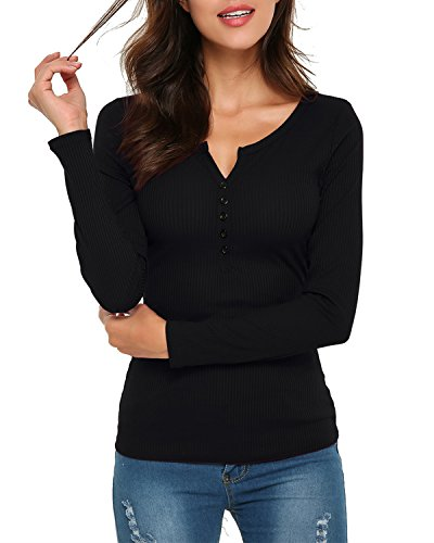 StyleDome Women's Long Sleeve Ribbed Scoop Neck Thermal Cotton Tops Black S