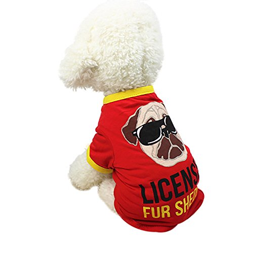 Price comparison product image Pet Clothes, Cartoon Printed T-Shirt Small Dogs Vest Costume Summer Cute Puppy Short Sleeve Clothes Apparel (Red, M)