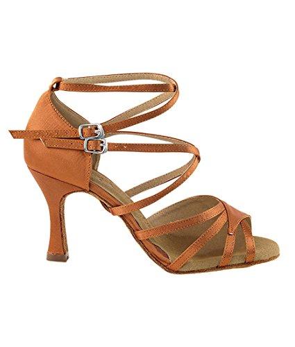 Very Fine Ballroom Latin Tango Zapatos De Baile De Salsa Para Mujeres Sera1662b 3 Pulgadas De Tacón + Cepillo Plegable Paquete Dark Tan Satin