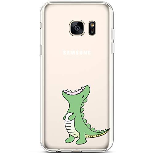 Verde fiore Tpu Morbida Modello Custodia Samsung S7 Cover Ukayfe Con Gomma Protettiva Silicone Chiaro Ultra Trasparente Edge Sottile Leggere Galaxy Dinus Gel Edge Per Case E O4xxqwga