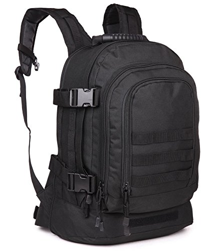 WolfWarriorX 3-day Expandable Backpack with Waist Pack Large Rucksack Tactical Backpack Molle Assault Bag for Day Hiking, Camping, Climbing, Traveling (Black)