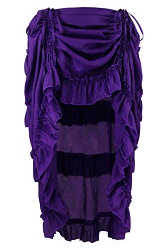 Charmian Women's Steampunk Gothic Victorian Cyberpunk High Low Ruffle Skirt Purple Large