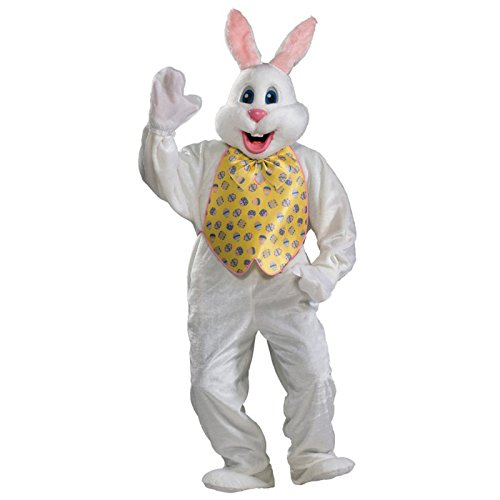 Rubie's Adult Deluxe Bunny Costume With Mascot Head,White,One Size
