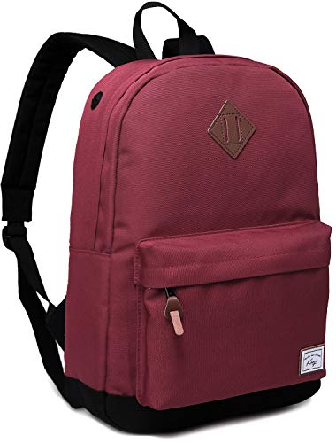 School Backpack for Girls, Kasqo Water-Resistant Classic Backpack for Women Fits 14 inch Laptop Casual Daypack for Teenager Wine Red