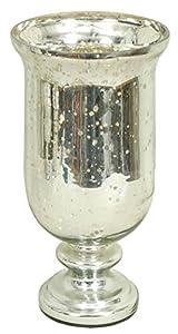Pedestal Silver Mercury Glass Vase