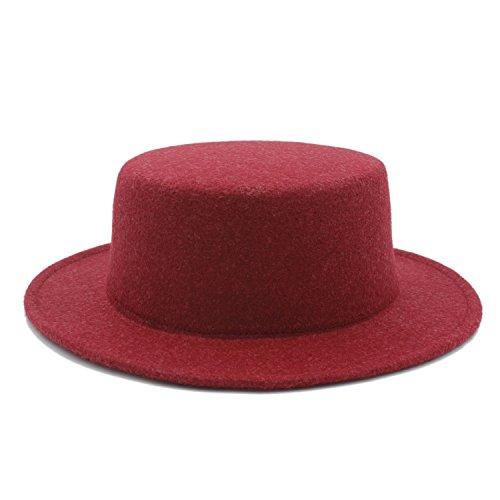 (CHENJUAN Hat Boater Flat Top Hat for Women's Men' Felt Wide Brim Chapeu De Feltro Gambler Prok Pie Fedora Hat (Color : 5, Size : 57-58CM))