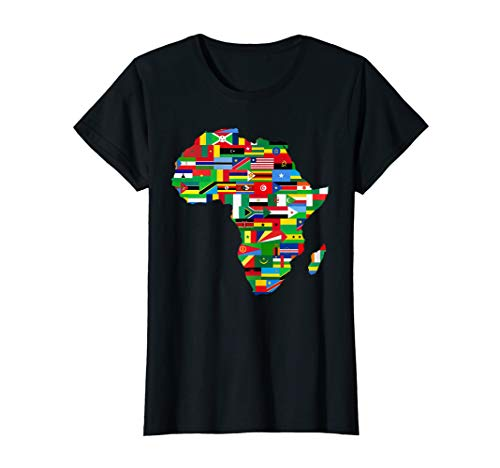 Womens Africa Countries Flag Map Shirt African American Party Pride Medium Black (T-shirt Africa Map)