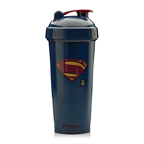 Performa Justice League & DC Comic - Leak Free Protein Shaker Bottle with Actionrod Mixing Technology for All Your Protein Needs! Shatter Resistant & Dishwasher Safe (Superman JL)