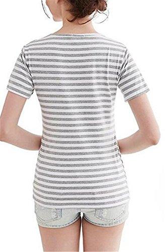 T Premaman Corta Manica L'allattamento A Rotondo Maglietta Grey Bluse Allentato Semplice Righe Donna shirt Classico Top Besthoo Collo qvdXw4v
