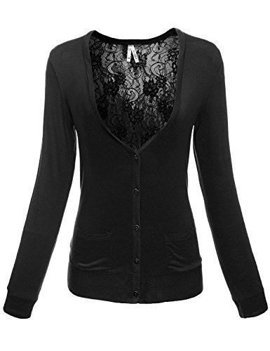 Luna Flower Women's Button Front V-Neck Long Sleeve Open Sheer Lace Mesh Sexy Back Cardigans