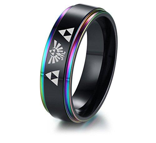 VNOX 6MM Zelda Triforce Legend of Zelda Stainless Steel Colorful Beveled Edge Ring,Gamer Gift,Size 10