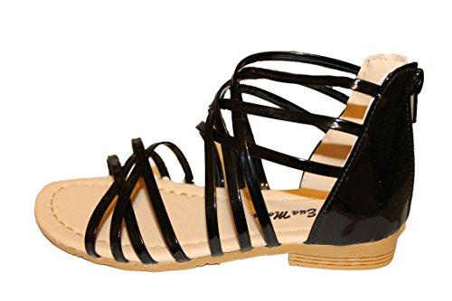 eva mode-spartiates sandales-noire brillante-fille (34)