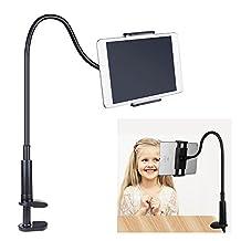 FUTESJ Gooseneck Tablet Stand, Clamp Mount Phone Holder Flexible Clip Lazy Arm Bracket for 10.5-Inch iPad Pro/iPad/iPad mini 4/Nintendo Switch/iPhone X/8/7/6s/Plus/5S/Samsung S8/S7/S6/Note Smartphone(Black)