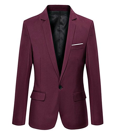 Mens Slim Fit Casual One Button Blazer Jacket (302 Burgundy, XL)
