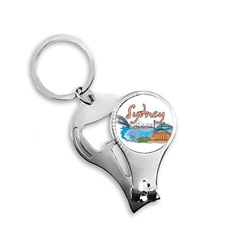 Keychain Barrier (Australia City Landmark Sydney Opera House and Great Barrier Reef Watercolor Metal Key Chain Ring Multi-function Nail Clippers Bottle Opener Car Keychain Best Charm Gift)